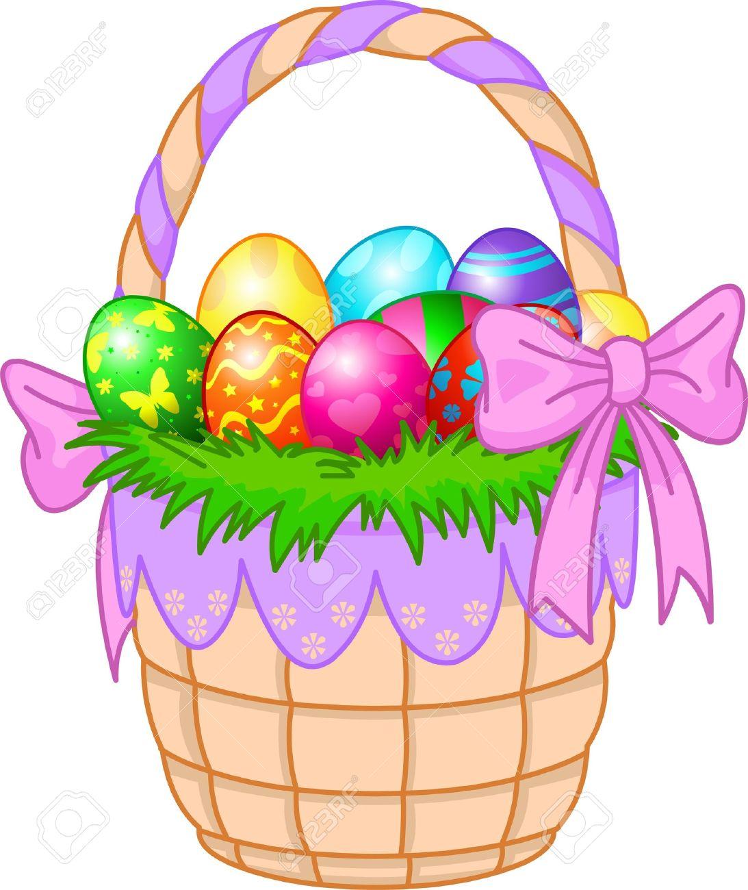Schöne Osterkorb Mit Bunten Eiern Lizenzfrei Nutzbare.