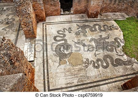 Stock Photographs of Ancient Roman Baths of Neptune Mosaic Floors.
