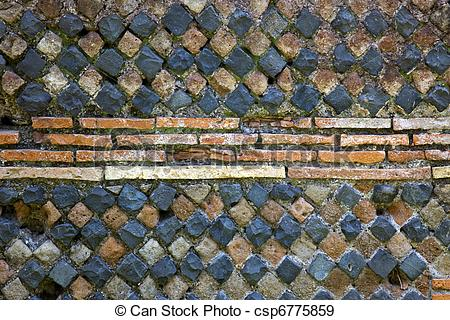 Stock Photographs of Ancient Roman Stone Wall Background Ostia.
