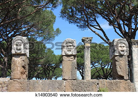 Stock Photography of Satiric masks in Ostia Antica k14903540.