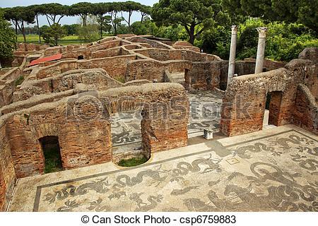 Stock Photos of Ancient Roman Baths of Neptune Mosaic Floors Ostia.