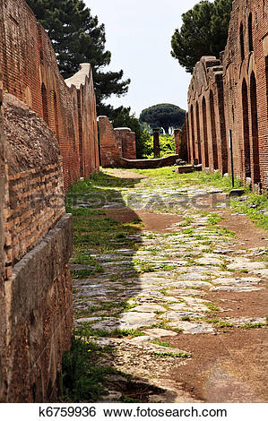 Stock Images of Ancient Roman Road Ruins Ostia Antica Rome Italy.