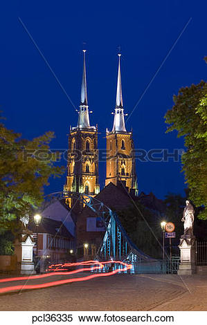 Stock Image of Cathedral At Night, Ostrow Tumski, Wroclaw, Poland.