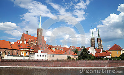 Ostrow Tumski From Cathedral Tower, Wroclaw, Poland Stock Photo.