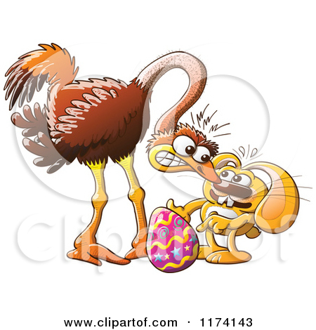 Cartoon of an Easter Bunny Trying to Steal an Ostrich Egg.