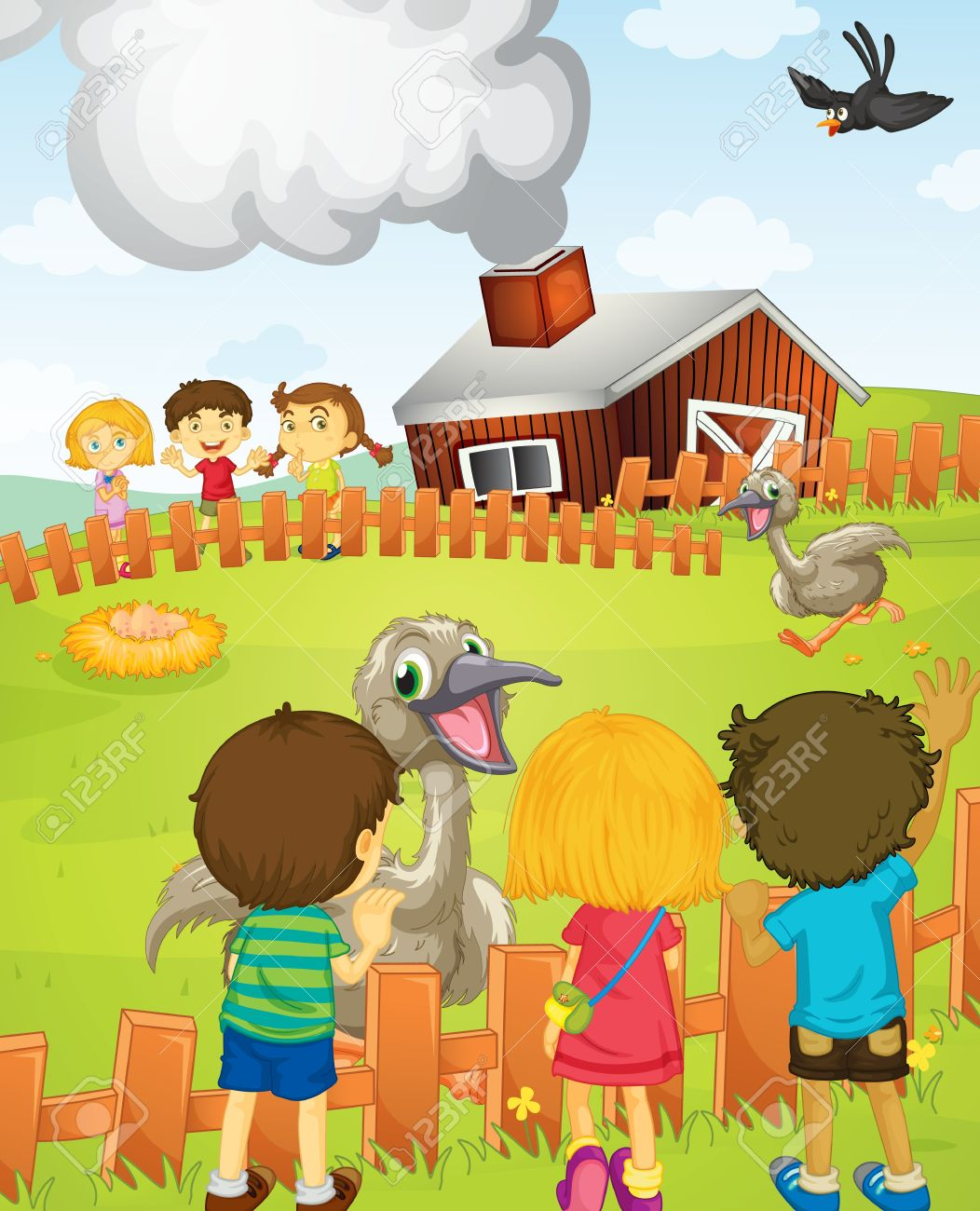 Illustration Of Kids At The Farm Royalty Free Cliparts, Vectors.