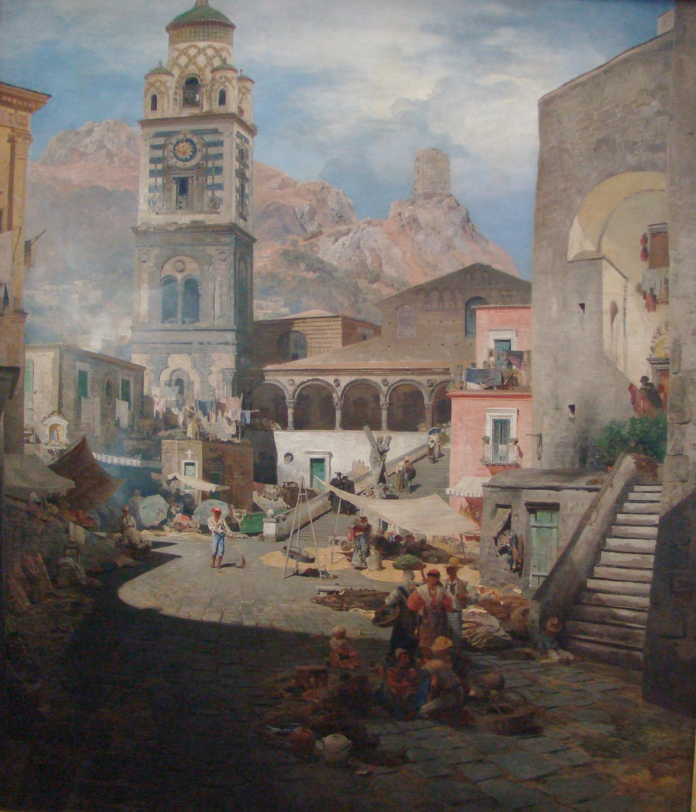 File:Oswald Achenbach Marktplatz Amalfi.jpg.