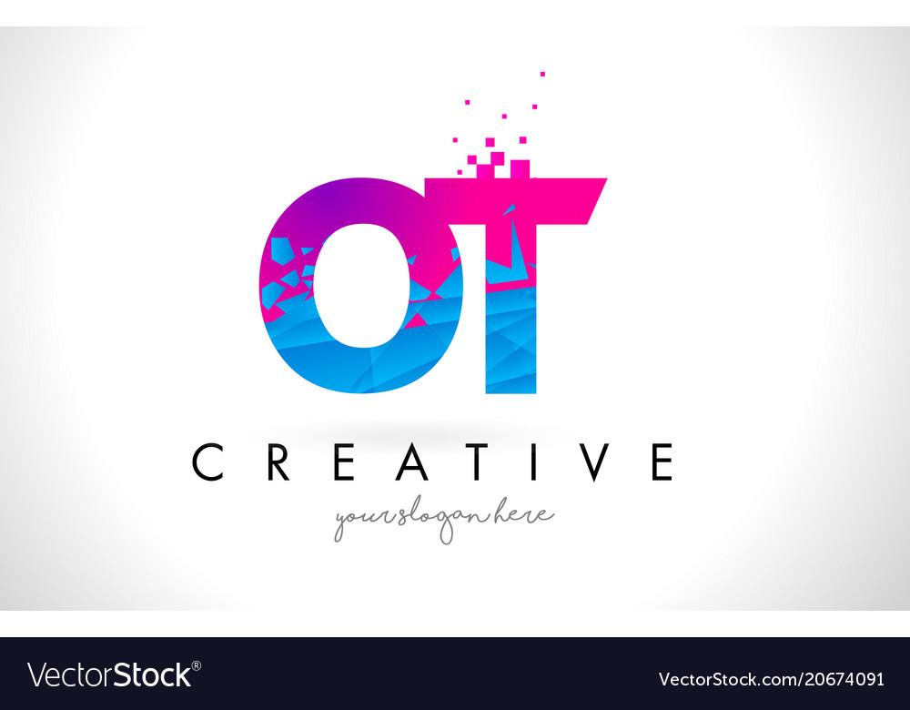 Ot o t letter logo with shattered broken blue.