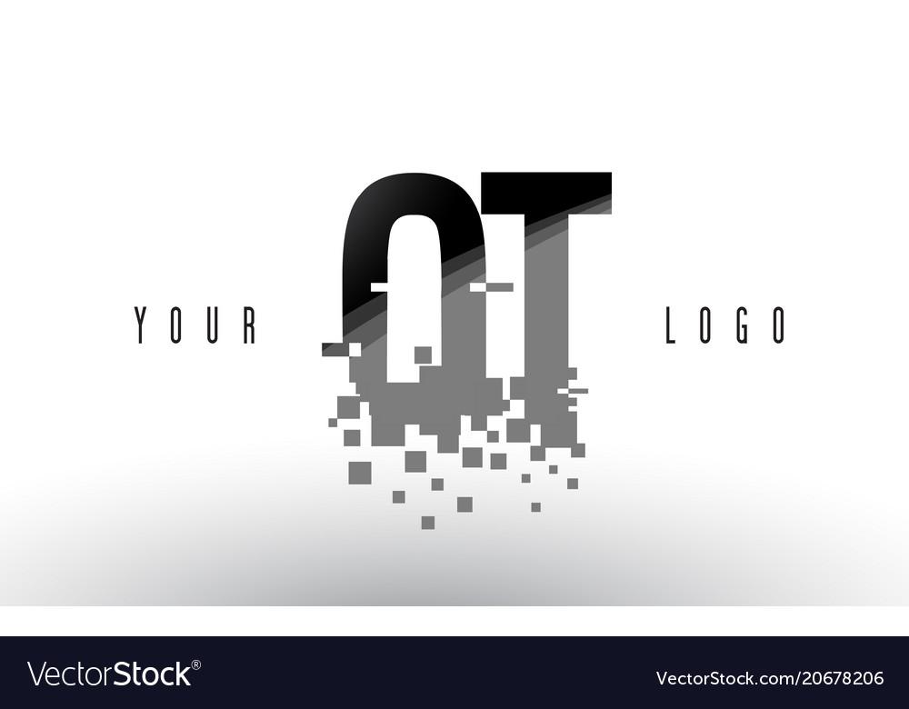 Ot o t pixel letter logo with digital shattered.