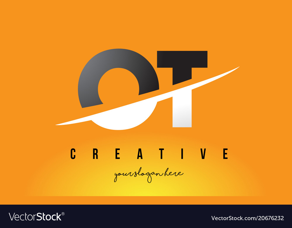 Ot o t letter modern logo design with yellow.