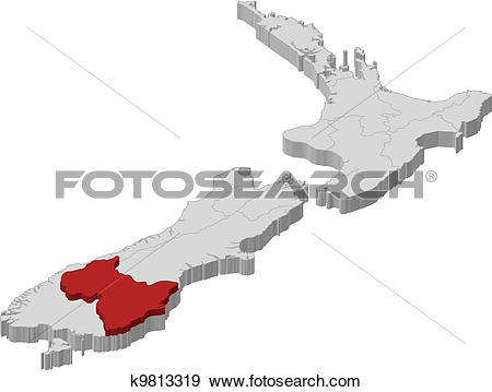 Clip Art of Map of New Zealand, Otago highlighted k9813319.