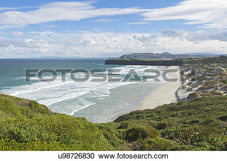 Stock Photography of View of sand dunes and beach, Dunedin, Otago.