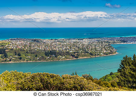 Stock Photo of Dunedin and the Otago Harbour, seen from the peak.