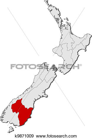 Clip Art of Map of New Zealand, Otago highlighted k9871009.