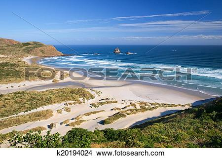 Stock Photo of Beautiful Inviting Beach at Sandfly Bay, Otago.