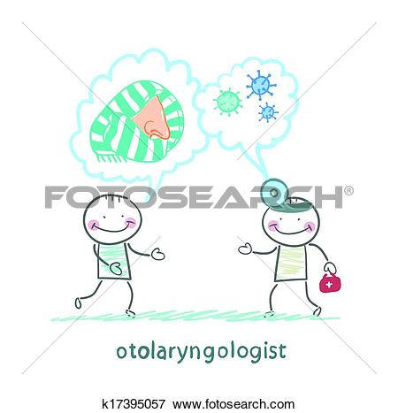 Clip Art of otolaryngologist says about bacteria and nose with a.