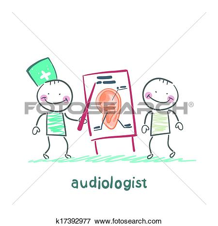 Clip Art of otolaryngologist shows a presentation about the.
