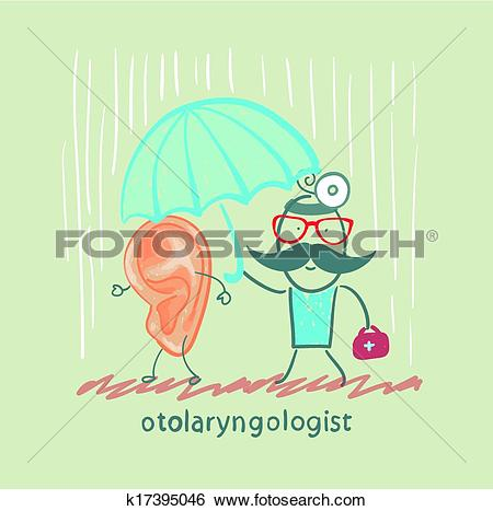 Clip Art of otolaryngologist holding an umbrella over the patient.