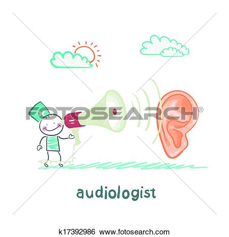 Clip Art of otolaryngologist yells into a megaphone on patient.