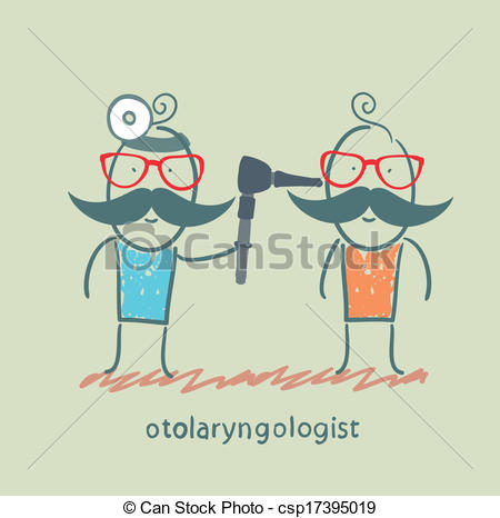 Vector Clip Art of otolaryngologist examines the patient's ear.