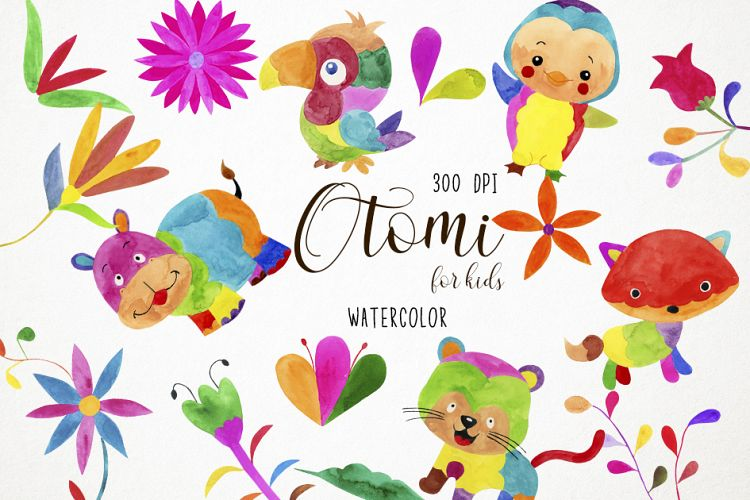 Watercolor Otomi Clipart, Mexican Clipart, Otomi Clip Art.