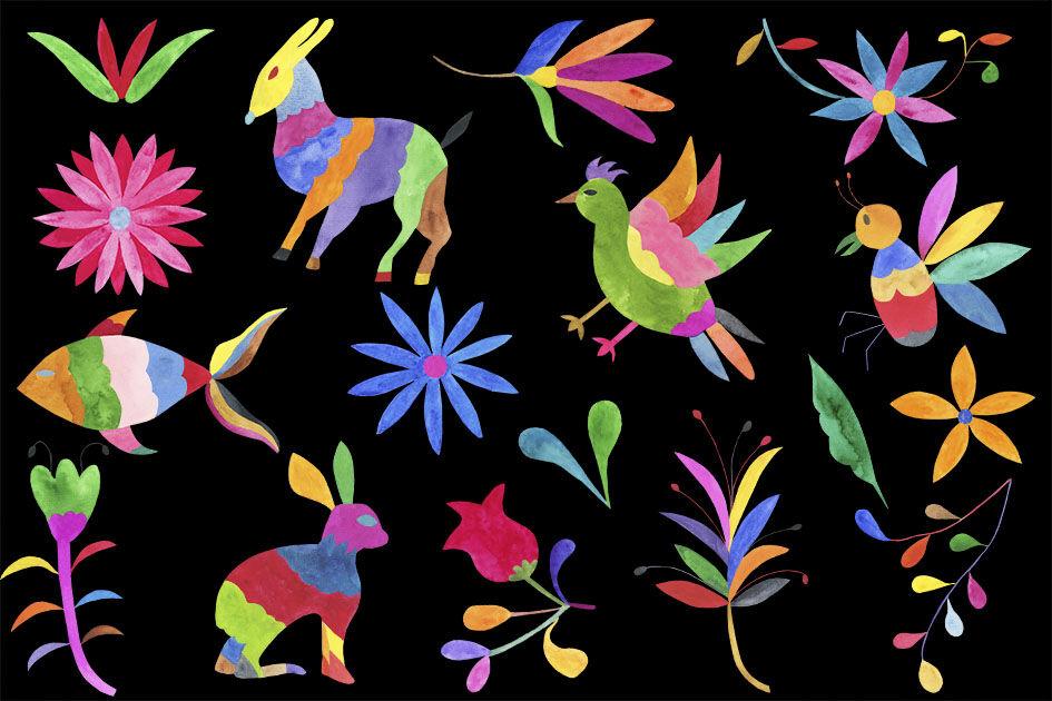 Watercolor Otomi Clipart, Otomi Clip Art By Paulaparaula.