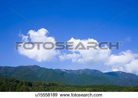 Stock Photograph of Forest and mountain range, Hira.