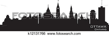 Clip Art of Ottawa, Canada skyline. Detailed silhouette k12131766.