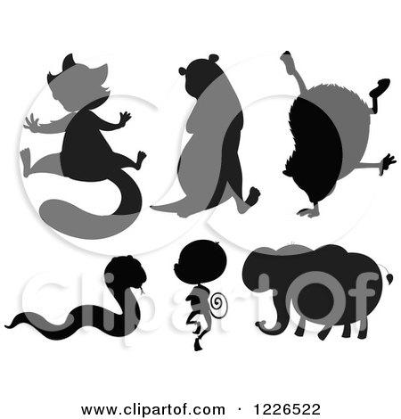 Clipart of Black Silhouettes of a Lemur Otter Hedgehog Snake.