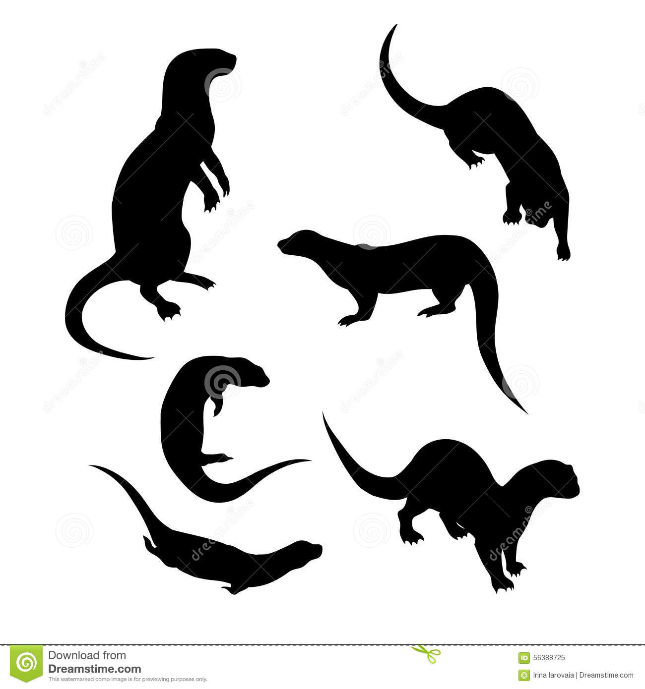 Vector Silhouettes Of A Otter Stock Vector.