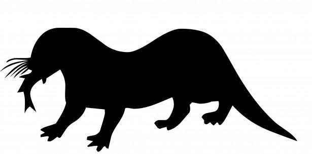 Otter Silhouette Free Stock Photo.