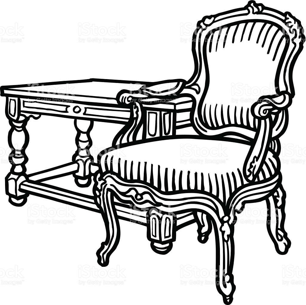 Antique Chair And Ottoman Vector Clipart stock vector art.