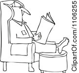 Clipart Man Reading The Newspaper With His Feet Up On An Ottoman.