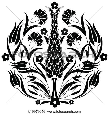 Clip Art of oriental ottoman design black k19979056.