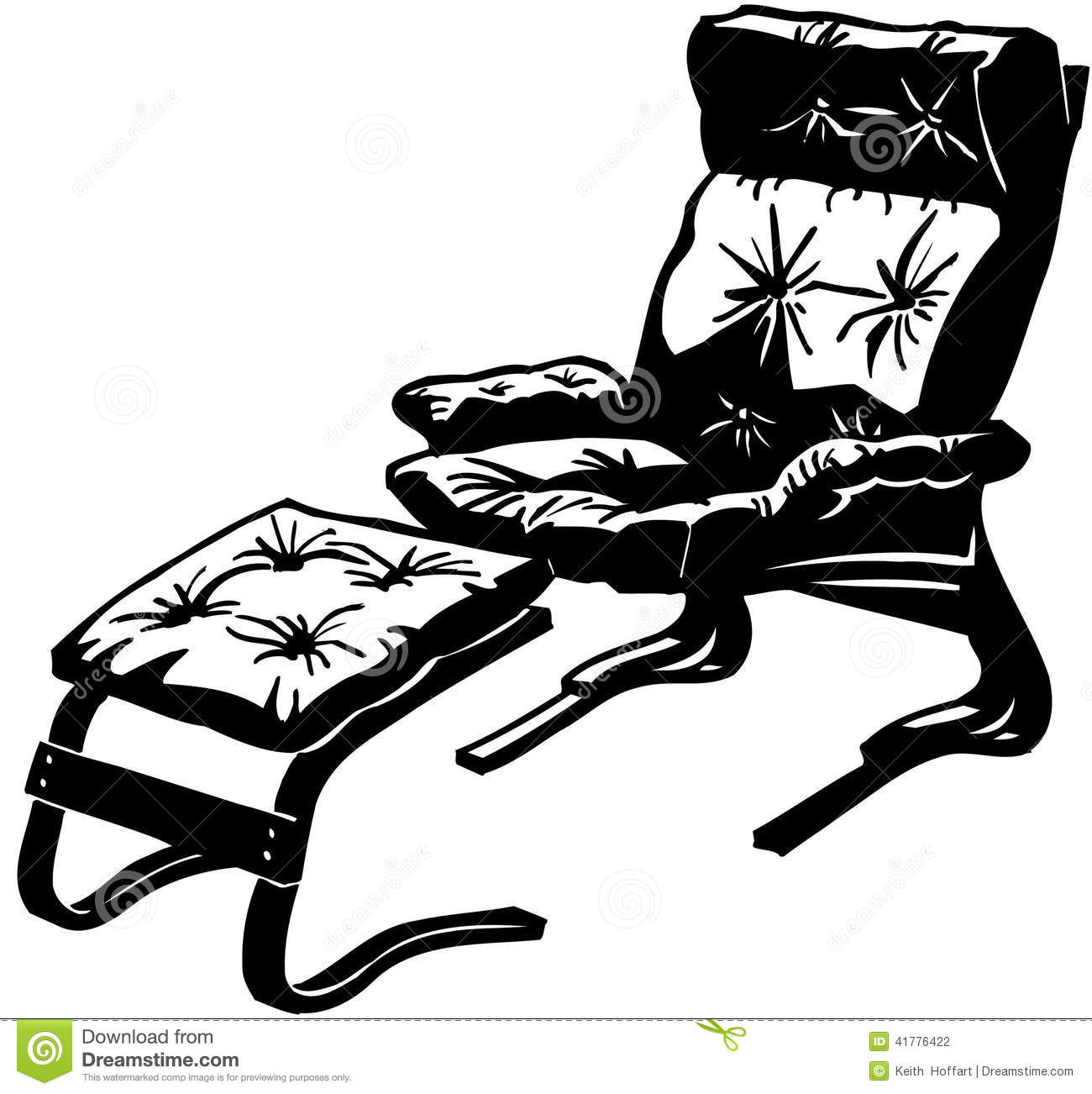 Chair With Ottoman Cartoon Vector Clipart Stock Vector.