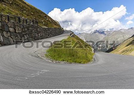 Stock Photography of Otztal glacial road, Otztal, Tyrol, Austria.