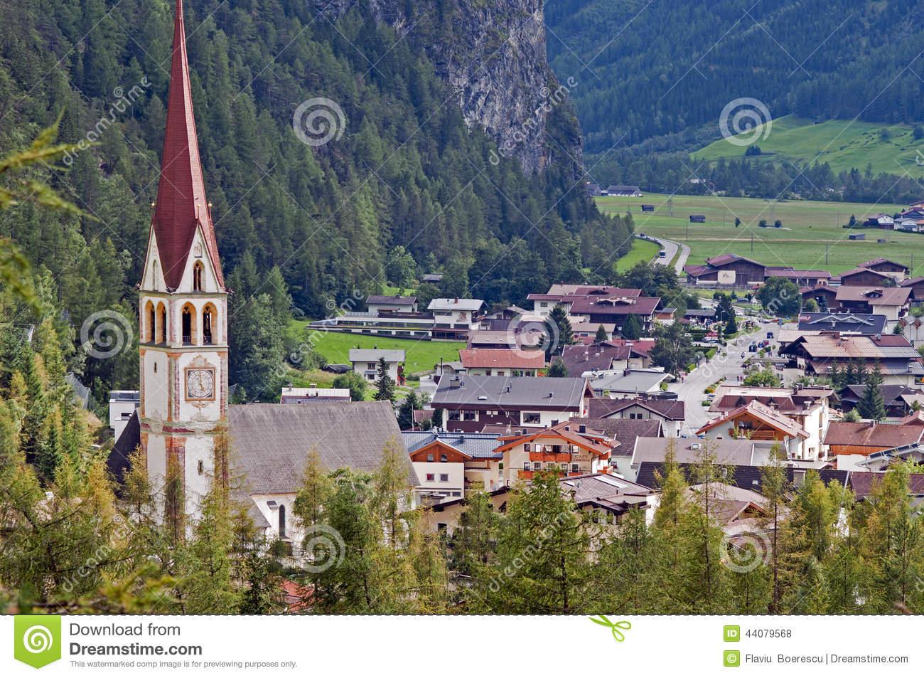 Mountain Village In Otztal, Tirol, Austria Stock Photo.