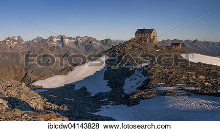 Pictures of Hochstubaihutte, mountain hut at sunrise, Solden.