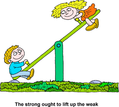 Image: Boy and girl on seesaw.