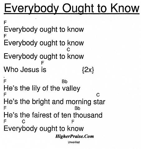 Everybody Ought To know Chords by Unlisted @ HigherPraise.com.