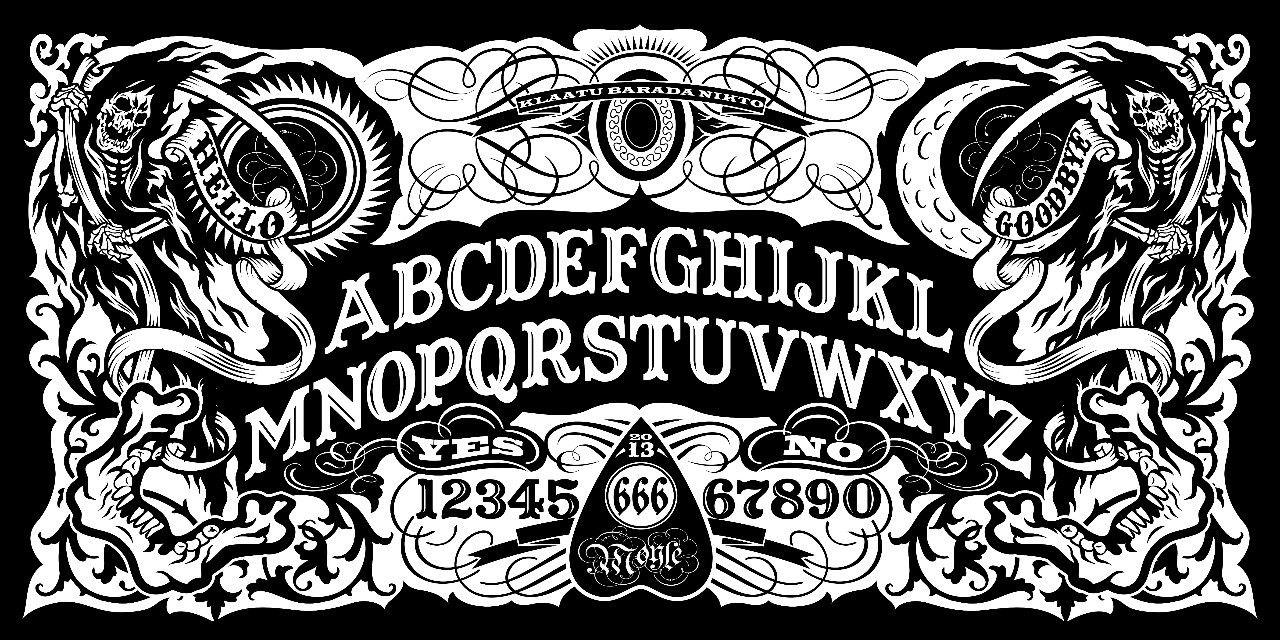Ouija board coffee table.
