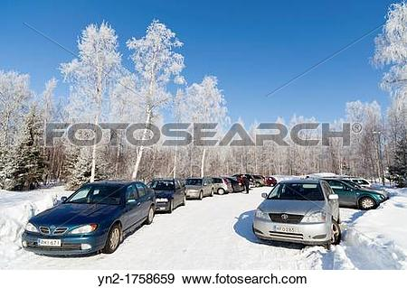 Stock Photograph of Packed parking lot at Winter Location Oulu.