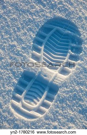 Stock Images of Shoe print on snow Location Oulu Finland.