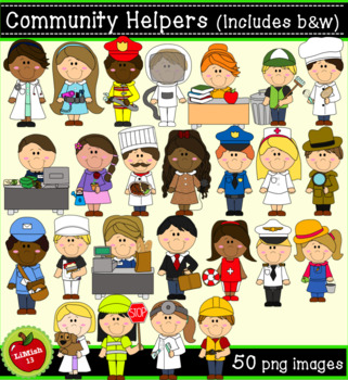 Community Helpers Clipart (50 png, 300dpi images).