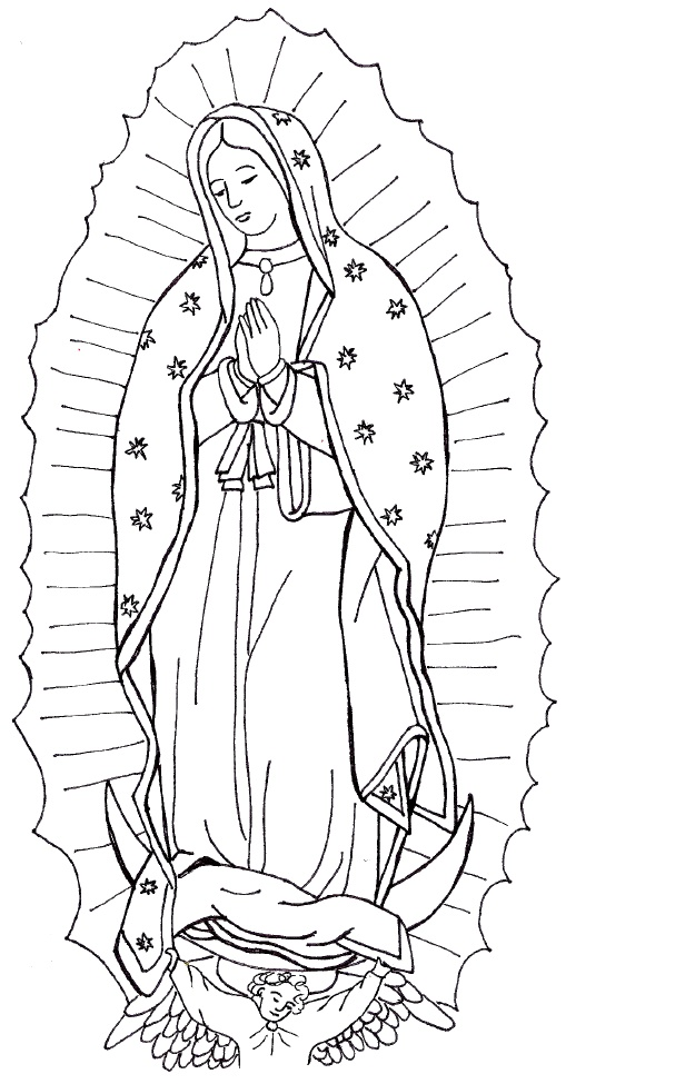 Catholic coloring page of Our Lady of Guadalupe.