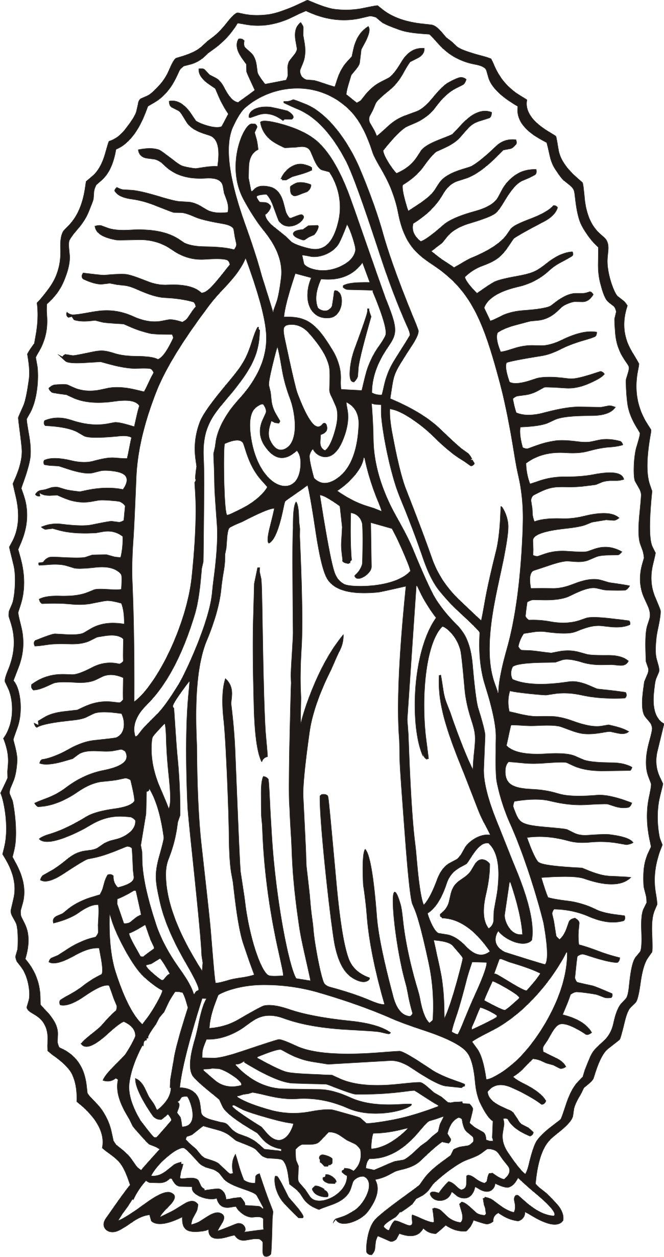 Line Drawing Virgin Mary : Our lady of guadalupe clipart color clipground
