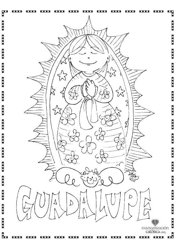 Our lady of guadalupe clipart color clipground for Virgen de guadalupe coloring pages