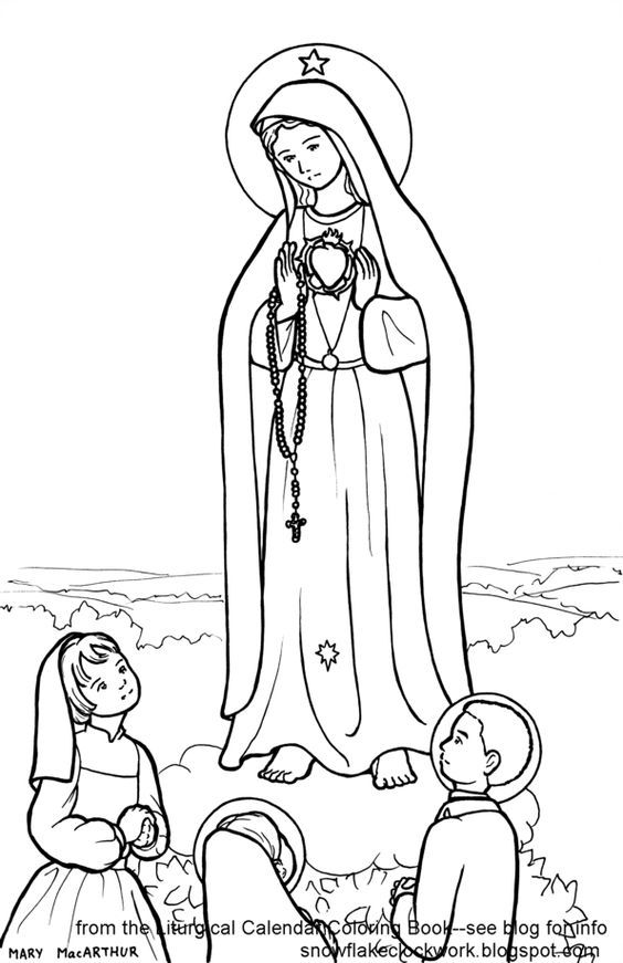 coloring page of Children of Fatima.