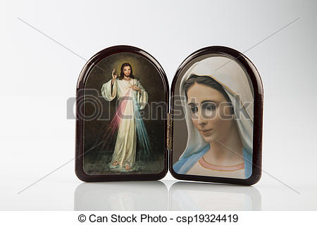 Stock Photography of Merciful Jesus and Our Lady of Medjugorje.