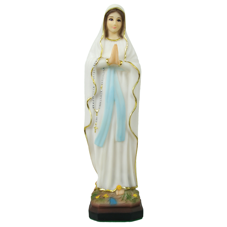 """Our Lady of Lourdes Statue in Crushed Stone (12"""")."""